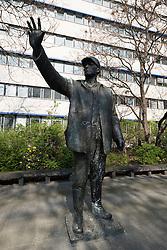 Worker sculpture on Karl Liebknecht Strasse in Mitte Berlin Germany