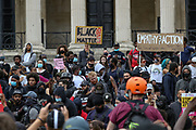 Members of Black Lives Matter movement chant slogans during a protest at Trafalgar Square in central London, Saturday, June 13, 2020. British police have imposed strict restrictions on groups protesting in London Saturday in a bid to avoid violent clashes between protesters from the Black Lives Matter movement, as well as far-right groups that gathered to counter-protest. Anger against systemic levels of institutional racism has raged through the city, and worldwide; sparked by the death of George Floyd, who was killed in Minneapolis, US, by a policeman who restrained him with force on 25 May 2020. (Photo/ Vudi Xhymshiti)