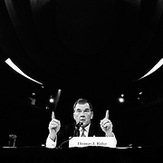 """Secretary of Homeland Security Thomas """"Tom"""" Ridge testifying at the 9/11 Commission's 11th Public Hearing in New York City."""