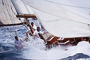 Galatea sailing in the Cannon Race at the Antigua Classic Yacht Regatta.
