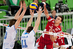 Danijel Koncilja #11 of Slovenia during volleyball match between National teams of Slovenia and Poland in 4th Qualification game of CEV European Championship 2015 on May 23, 2014 in Arena Stozice, Ljubljana, Slovenia. Photo by Urban Urbanc / Sportida