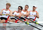 Poznan, POLAND,  CAN M4-, Bow, Peter DEMBICKI, Robert  GIBSON, Kip McDANIEL and James FARIS  Morning heat, at the 2008 Olympic Qualifcation  Rowing Regatta. Malta Rowing Course on Monday, 16/06/2008. [Mandatory Credit:  Peter SPURRIER / Intersport Images] . Rowing Course:Malta Rowing Course, Poznan, POLAND