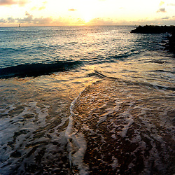 Sunset on the waves in Anguilla, British West Indies