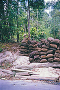 Bags of charcoal piled up ready for collection in Sylibia, Trinidad c 1963