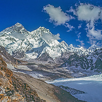 An unusual view of Mount Everest from the Changri La pass in the Khumbu region of Nepal's Himalaya. Also visible (L to R) are Lhotse, Makalu and Baruntse.