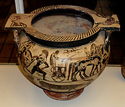 Column-krater (bowl for mixing wine and water). Hephaestus returns to Olympus escorted by Dionysus and his companions.  Middle Corinthian, about 600-575 BC; perhaps by the Ophelandros Painter.  From Nola in Campania. Some of the dancers are shown wearing padded costumes, suggesting that this represents not merely the myth but an actual religious ritual or dramatic performance.