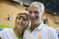 Mojca and Marinko Dragic, mother and father of Goran Dragic of Slovenia and Zoran Dragic of Slovenia celebrate after Slovenia won during basketball match between National teams of Slovenia and Spain in Round 1 at Day 2 of Eurobasket 2013 on September 5, 2013 in Arena Zlatorog, Celje, Slovenia. (Photo by Vid Ponikvar / Sportida.com)