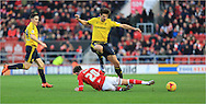 George Friend, Wes Burns during the Sky Bet Championship match between Bristol City and Middlesbrough at Ashton Gate, Bristol, England on 16 January 2016. Photo by Daniel Youngs.