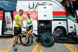 Bostjan Kavcnik and Jan Tratnik of Slovenia after the Men Time Trial at UCI Road World Championship 2020, on September 24, 2020 in Imola, Italy. Photo by Vid Ponikvar / Sportida