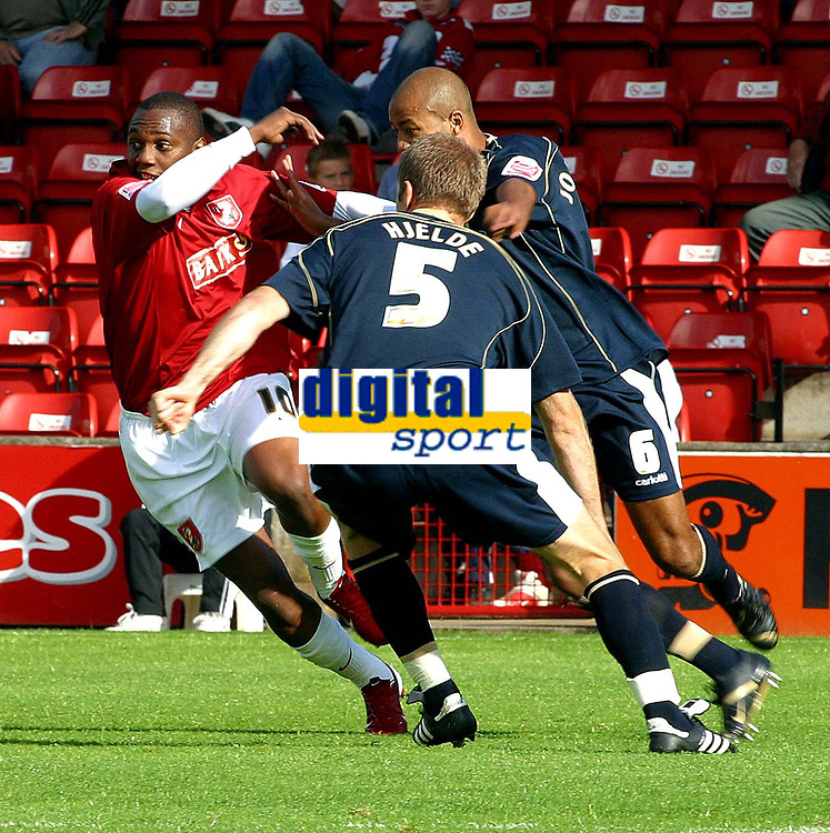 Photo: Dave Linney.<br />Walsall v Mansfield Town. Coca Cola League 2. 30/09/2006Walsall's .Hector Sam(L) tries to find a way through the Mansfield defence