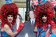 April 29th 2011 Royal Wedding. Trafalgar Square. The Big Wigs drag act in over the top costumes.