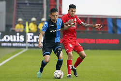 May 13, 2018 - Liege, Belgique - LIEGE, BELGIUM - MAY 13 : Dion Cools defender of Club Brugge and Junior Edmilson midfielder of Standard Liege during the Jupiler Pro League Play-Off 1 match between R. Standard de Liege and Club Brugge at the Sclessin stadium on May 13, 2018 in Liege, Belgium, 13/05/18  (Credit Image: © Panoramic via ZUMA Press)