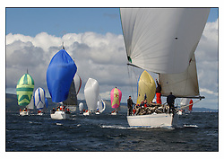 The third days racing at the Bell Lawrie Yachting Series in Tarbert Loch Fyne ..Perfect conditions finally arrived for competitors on the three race courses...GBR9740C Sloop John T a Swan 40 with the Class two fleet...