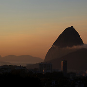 Sunrise in Rio de Janeiro showing Sugar Loaf Mountain, one of the iconic locations with breathtaking views of Rio de Janeiro, Brazil. 23rd July 2010. Photo Tim Clayton..