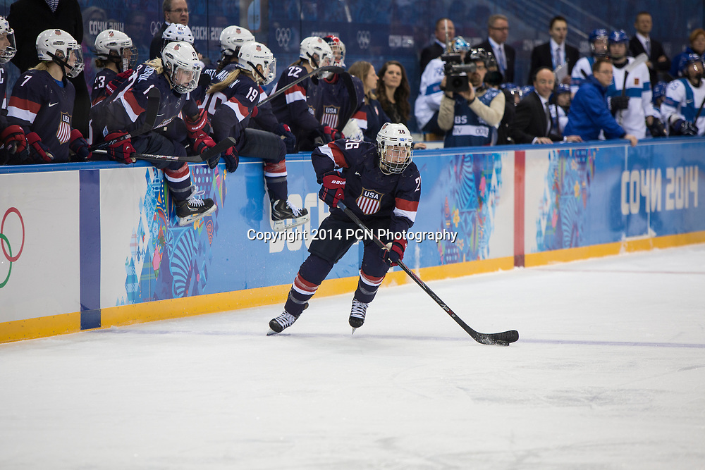 Kendall Coyne (USA) during ice hockey game vs FIN at the Olympic Winter Games, Sochi 2014