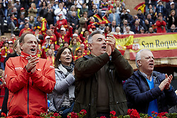 April 7, 2018 - Valencia, Valencia, Spain - Spanish fans cheer their players during day two of the Davis Cup World Group Quarter Finals match between Spain and Germany at Plaza de Toros de Valencia on April 7, 2018 in Valencia, Spain  (Credit Image: © David Aliaga/NurPhoto via ZUMA Press)