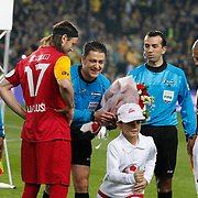 Referee's Bulent Yildirim (C) during their Turkish superleague soccer derby match Fenerbahce between Galatasaray at Sukru Saracaoglu stadium in Istanbul Turkey on Saturday 17 March 2012. Photo by TURKPIX