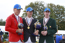 Podium 7 year old horses:<br /> 1 Devos Pieter (BEL)<br /> 2 Tebbel Rene (GER)<br /> 3 Broderick Greg (IRL)<br /> FEI World Breeding Jumping Championships for Young Horses 2010 <br /> Photo © Hippo Foto - Leanjo de Koster