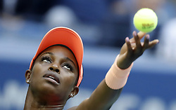 NEW YORK, Sept. 10, 2017  Sloane Stephens of the United States serves to her compatriot Madison Keys during the women's singles final match at the 2017 US Open in New York, the United States, Sept. 9, 2017. Sloane Stephens won 2-0 to claim the title. (Credit Image: © Qin Lang/Xinhua via ZUMA Wire)