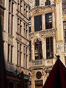 Detail of the Maison des Ducs de Brabant facade and Grand Place,  Brussels, Belgium