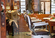 Interior of barbers shop, Rome, Italy
