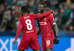 SALZBURG, AUSTRIA - Tuesday, December 10, 2019: Liverpool's Naby Keita (L) celebrates scoring the first goal with team-mate Sadio Mané during the final UEFA Champions League Group E match between FC Salzburg and Liverpool FC at the Red Bull Arena. (Pic by David Rawcliffe/Propaganda)