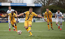 File photo dated 29-01-2017 of Sutton United's Jamie Collins scoring a penalty against Leeds United. Sutton beat Championship side Leeds in the last round of the FA Cup to set up a fairytayle tie against the Premier League giants Arsenal. The Non-league Sutton United host Arsenal in the Emirates FA Cup on Monday night.
