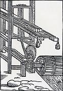 Sawmill powered by an undershot water wheel. Engraving 1650.
