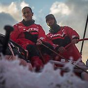 Leg 3, Cape Town to Melbourne, day 02,  Blair Tuke, Pablo Arrarte on board MAPFRE. Photo by Jen Edney/Volvo Ocean Race. 11 December, 2017.