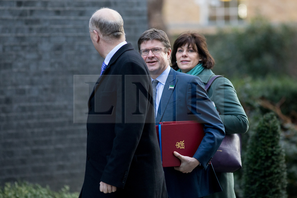 © Licensed to London News Pictures. 06/02/2018. London, UK. Secretary of State for Business, Energy and Industrial Strategy Claire Perry, Secretary of State for Business, Energy and Industrial Strategy Greg Clarke and Transport Secretary Chris Grayling arriving in Downing Street to attend a Cabinet meeting this morning. Photo credit : Tom Nicholson/LNP
