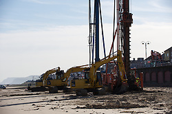 © under license to London News Pictures.  18 March 2011..Work begins on the improvement of sea defences in Redcar in Cleveland. The work, costing £30m began with preliminary testing by drilling rig operations on the beach...The work on the 2.7km stretch of sea defences is expected to take two years and will be completed in sections to minimise disruption to local residents...Photo credit should read Ian Forsyth/LNP