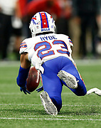 Buffalo Bills strong safety Micah Hyde (23) makes a late game interception during a week 4 NFL football game against the Atlanta Falcons on Sunday, Oct. 1, 2017 in Atlanta, GA. (Mike Zarrilli/AP Images for Panini, via AP)