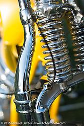 Big Scot Stopnik's Cycle Zombies' custom Panhead in the Born Free-7 Invitational Builder bike corral on setup day. Silverado, CA, USA. Saturday, June 26, 2015.  Photography ©2015 Michael Lichter.