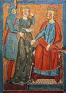 Gothic painted wood panels with scenes of the Martyrdom of Saint Lucy<br /> Circa 1300. Tempera on wood. Date Circa 1300. From the parish church of Santa Llúcia de Mur (Guàrdia de Noguera, Pallars Jussà). National Museum of Catalan Art, Barcelona, Spain, inv no: 035703-CJT.<br /> <br /> If you prefer you can also buy from our ALAMY PHOTO LIBRARY  Collection visit : https://www.alamy.com/portfolio/paul-williams-funkystock/romanesque-art-antiquities.html<br /> Type -     MNAC     - into the LOWER SEARCH WITHIN GALLERY box. Refine search by adding background colour, place, subject etc<br /> <br /> Visit our ROMANESQUE ART PHOTO COLLECTION for more   photos  to download or buy as prints https://funkystock.photoshelter.com/gallery-collection/Medieval-Romanesque-Art-Antiquities-Historic-Sites-Pictures-Images-of/C0000uYGQT94tY_Y