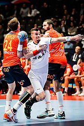 16.01.2020, Wiener Stadthalle, Wien, AUT, EHF Euro 2020, Spanien vs Tschechische Republik, Hauptrunde, Gruppe I, im Bild v. l. Viran Morros de Argila (ESP), Roman Becvar (CZE), Jorge Maqueda Pena (ESP) // f. l. Viran Morros de Argila (ESP) Roman Becvar (CZE) Jorge Maqueda Pena (ESP) during the EHF 2020 European Handball Championship, main round group I match between Spain and Czech Republic at the Wiener Stadthalle in Wien, Austria on 2020/01/16. EXPA Pictures © 2020, PhotoCredit: EXPA/ Florian Schroetter