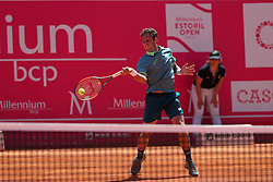 May 4, 2018 - Lisbon, Portugal - Roberto Carballes Baena of Spain returns a ball to Stefanos Tsitsipas of Greece during the Millennium Estoril Open ATP 250 tennis tournament quarterfinals, at the Clube de Tenis do Estoril in Estoril, Portugal on May 4, 2018. (Credit Image: © Pedro Fiuza/NurPhoto via ZUMA Press)