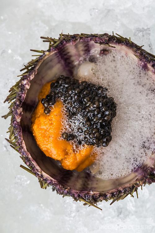 Sea urchin and caviar by Antonio Park.