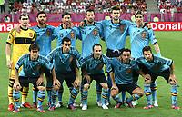 Fotball<br /> EM 2012<br /> 18,06.2012<br /> Spania v Kroatia<br /> Foto: Gepa/Digitalsport<br /> NORWAY ONLY<br /> <br /> Bild zeigt die Mannschaft von ESP mit Iker Casillas, Xabi Alonso, Sergio Ramos, Sergio Busquets, Gerrard Pique, Fernando Torres (hinten von links), David Silva, Alvaro Arbeloa, Andres Iniesta, Xavi Hernandez und Jordi Alba (ESP/ vorne von links).<br /> Lagbilde Spania