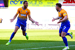 CJ Hamilton of Mansfield Town celebrates his goal with Alex MacDonald of Mansfield Town - Mandatory by-line: Ryan Crockett/JMP - 19/04/2019 - FOOTBALL - One Call Stadium - Mansfield, England - Mansfield Town v Morecambe - Sky Bet League Two