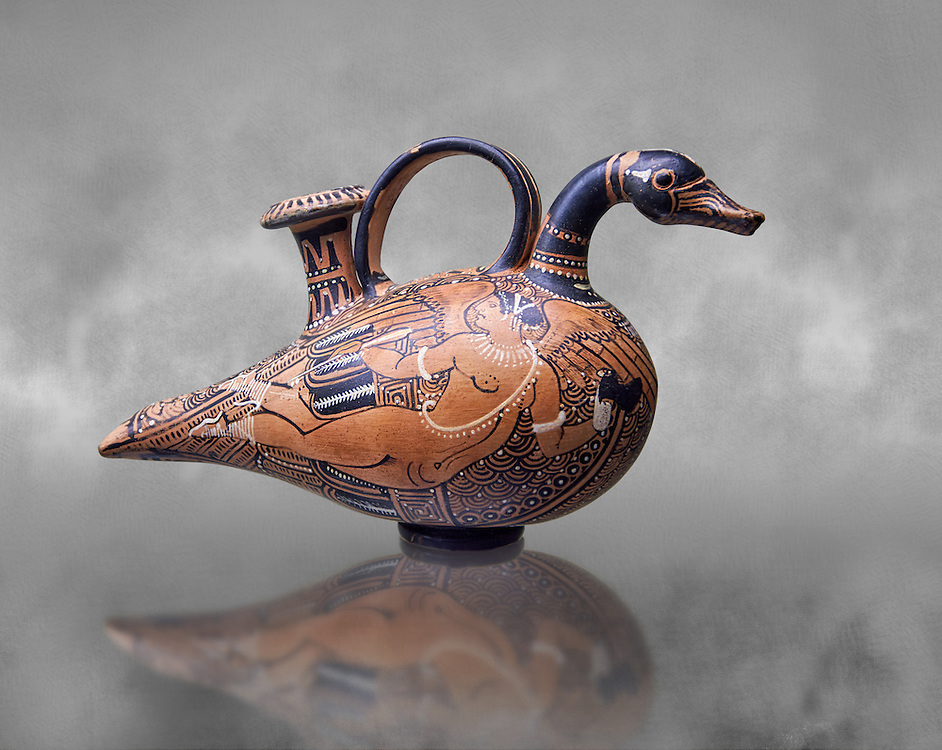 A 4th century B.C Etruscan Askoi, olive oil or wine jar, in the shape of a duck, terracotta illustrated with black paint, inv 4233, National Archaeological Museum Florence, Italy .<br /> <br /> If you prefer to buy from our ALAMY PHOTO LIBRARY  Collection visit : https://www.alamy.com/portfolio/paul-williams-funkystock - Scroll down and type - Etruscan Florence - into LOWER search box. (TIP - Refine search by adding a background colour as well).<br /> <br /> Visit our ETRUSCAN PHOTO COLLECTIONS for more photos to download or buy as wall art prints https://funkystock.photoshelter.com/gallery-collection/Pictures-Images-of-Etruscan-Historic-Sites-Art-Artefacts-Antiquities/C0000GgxRXWVMLyc