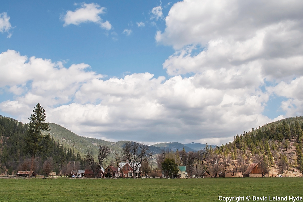 Genesee From South Across Genesee Valley Ranch, Kettle Rock, California Mountains, Spring, Partly Cloudy, Green Pastures, Sierra Nevada Mountains, Shade Trees