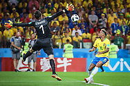 Neymar of Brazil in duel with Vladimir Stojkovic of Serbia during the 2018 FIFA World Cup Russia, Group E football match between Erbia and Brazil on June 27, 2018 at Spartak Stadium in Moscow, Russia - Photo Thiago Bernardes / FramePhoto / ProSportsImages / DPPI