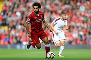 Mohamed Salah of Liverpool in action. Premier League match, Liverpool v Burnley at the Anfield stadium in Liverpool, Merseyside on Saturday 16th September 2017.<br /> pic by Chris Stading, Andrew Orchard sports photography.