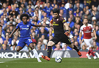 Football - 2018 / 2019 Premier League - Chelsea vs. Arsenal<br /> <br /> Arsenal's Petr Cech under pressure from Chelsea's Willian, at Stamford Bridge.<br /> <br /> COLORSPORT/ASHLEY WESTERN