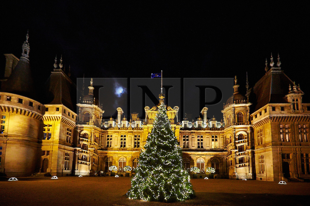 © Licensed to London News Pictures.  13/11/2013. AYLESBURY, UK. General view of the Christmas decorations, some with an Austrian theme, at Waddesdon Manor. The annual exhibition opens to the public tomorrow.  Photo credit :  Cliff Hide/LNP.
