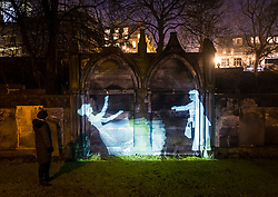 "Author Val McDermid's short story  ""New Year's Resurrection"", Message from the Skies, projected at night at several locations in Edinburgh."