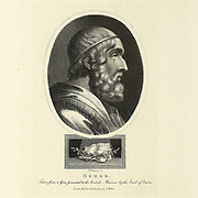 Portrait of Homer Copperplate engraving by John Chapman [Homer is the presumed author of the Iliad and the Odyssey, two epic poems that are the central works of ancient Greek literature]. From the Encyclopaedia Londinensis or, Universal dictionary of arts, sciences, and literature; Volume X;  Edited by Wilkes, John. Published in London in 1811
