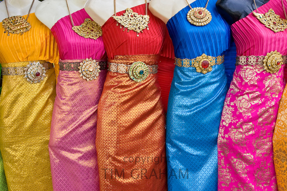 Thai silk traditional dresses for sale, Bangkok, Thailand RESERVED USE - NOT FOR DOWNLOAD -  FOR USE CONTACT TIM GRAHAM