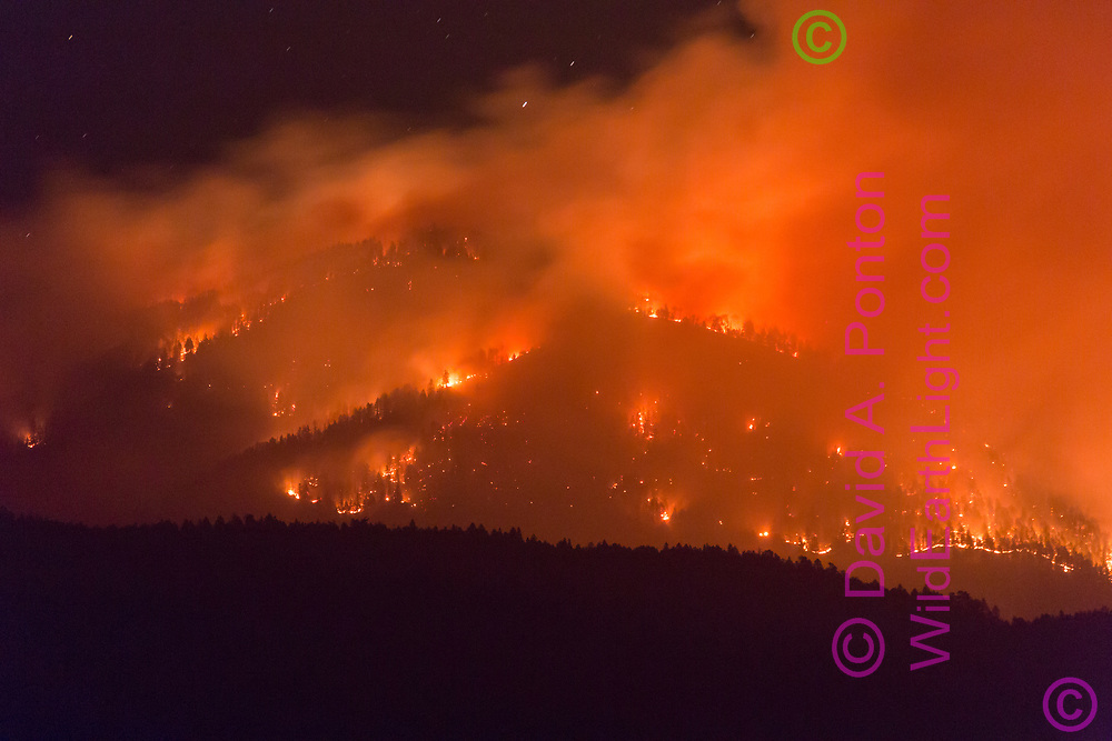 Thompson Fire burning on South Mountain the night of June 8, 2013, viewed from the southwest. Valles Caldera National Preserve, New Mexico, © 2013 David A. Ponton