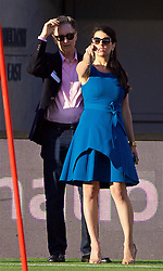 SANTA CLARA, USA - Friday, July 29, 2016: Liverpool's owner John W. Henry and his wife Linda Pizzuti during a training session ahead of the International Champions Cup 2016 game against AC Milan on day nine of the club's USA Pre-season Tour at the Levi's Stadium. (Pic by David Rawcliffe/Propaganda)